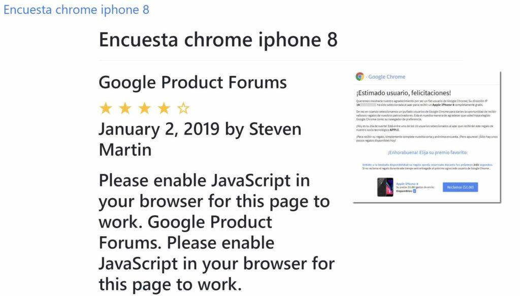 Google Chrome no Regala un Iphone