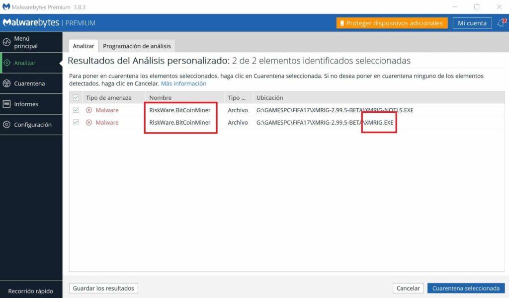 malwarebytes quitar virus xmrig