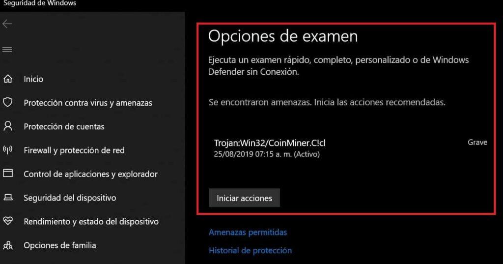 windows defender quitar virus xmrig