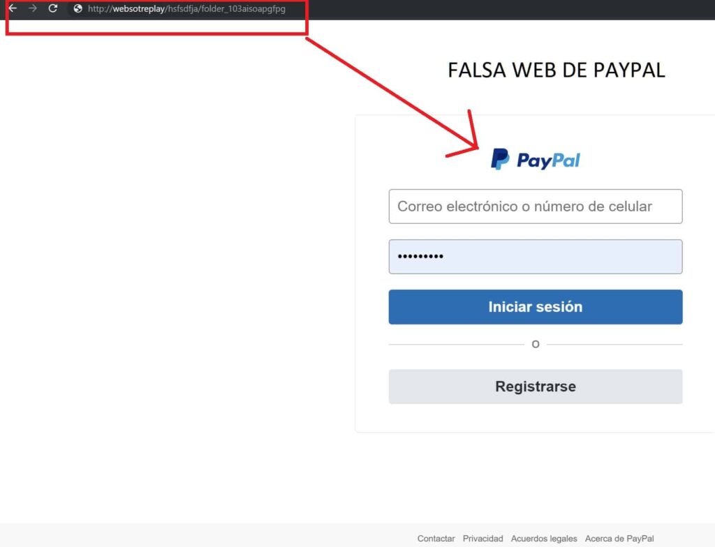 Falsa web de paypal, intento de phishing