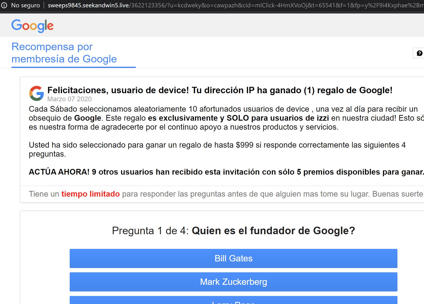 Estafa haciéndose pasar por google
