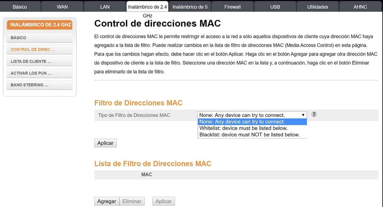 Control de direcciones MAC