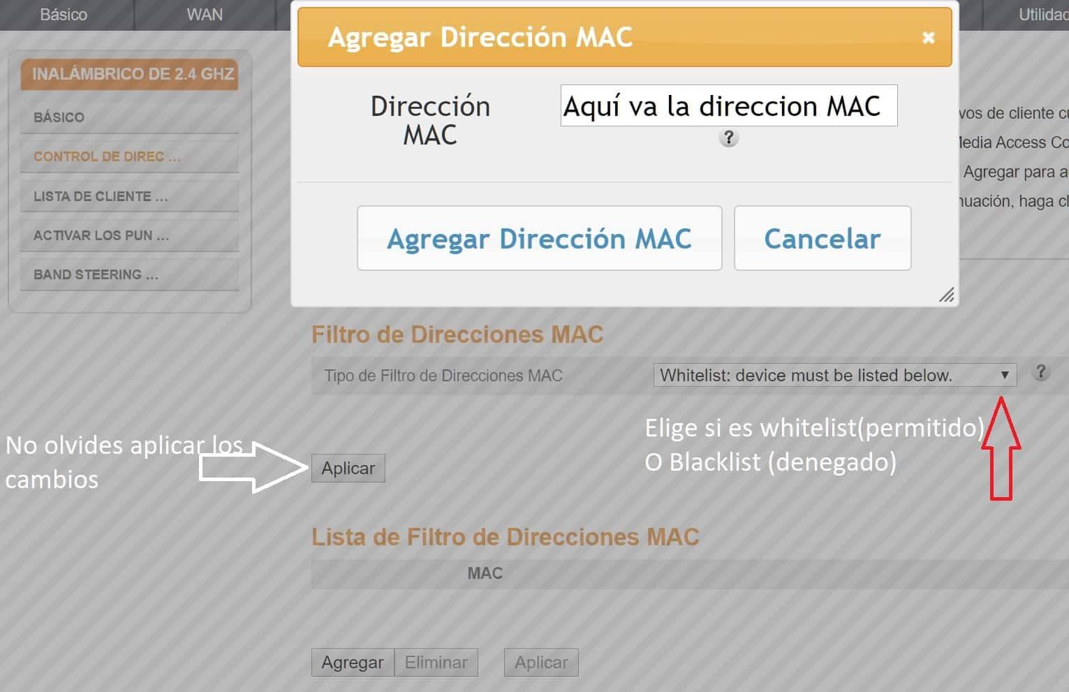 Permisos de direcciones MAC