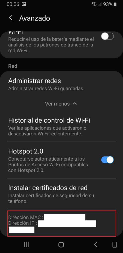 Wifi android dirección MAC