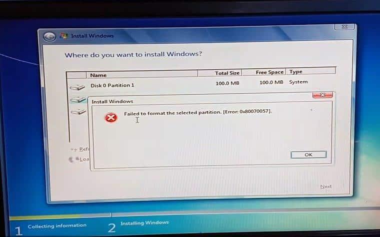 error 0x80070057 en Windows