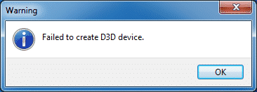 Failed to create D3D device