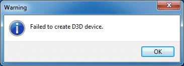 Failed to create D3D device