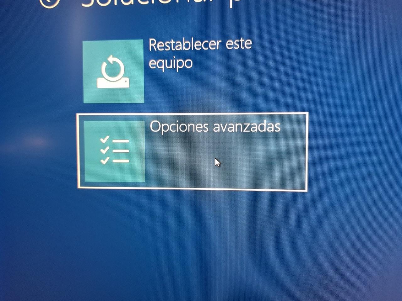 Opciones avanzadas, windows 10