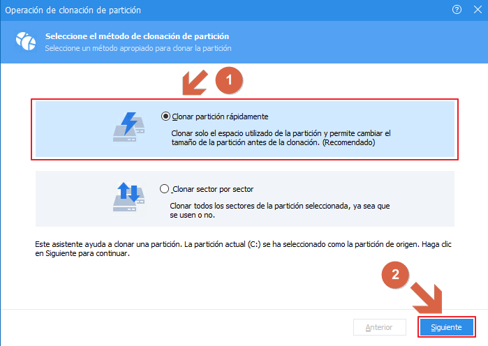seleccionar metodo de particion en windows