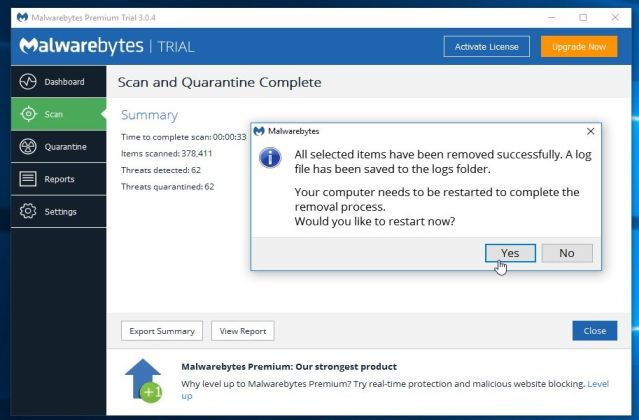 Malwarebytes Anti-Malware pide que se reinicie el PC