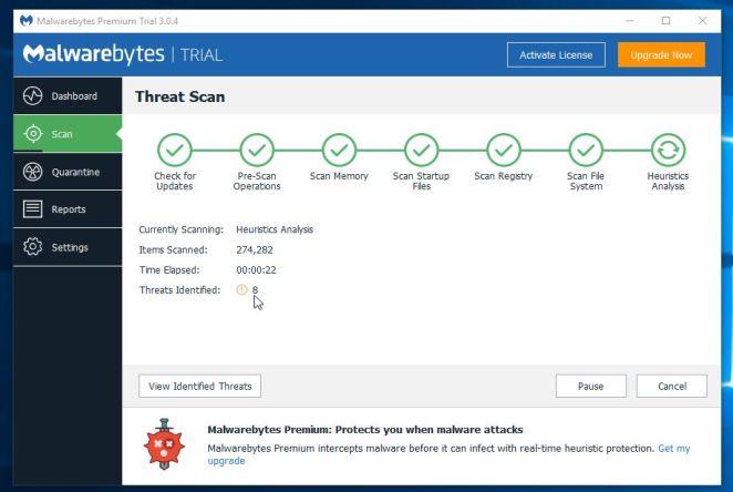 Malwarebytes Anti-Malware escanea en busca de malware