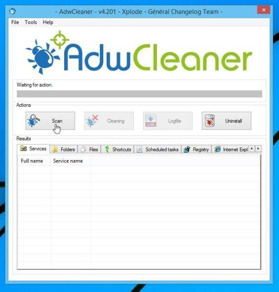 Botón de escaneo de AdwCleaner