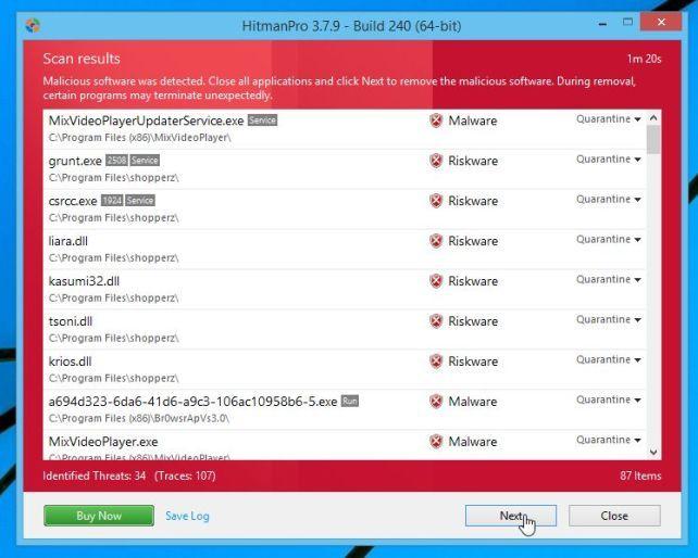 El malware detectado por HitmanPro