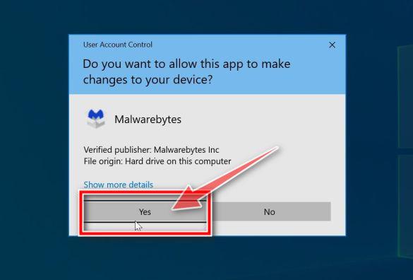 Windows pide permiso para ejecutar el instalador de Malwarebytes