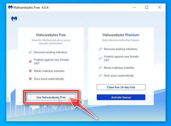 Haga clic en Usar Malwarebytes Free para continuar la instalación