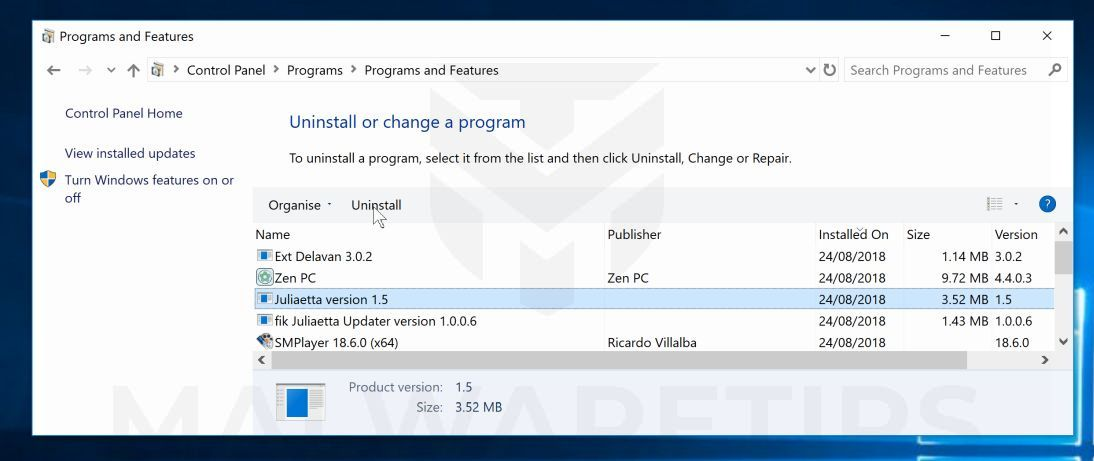 Desinstalar programas maliciosos de Windows