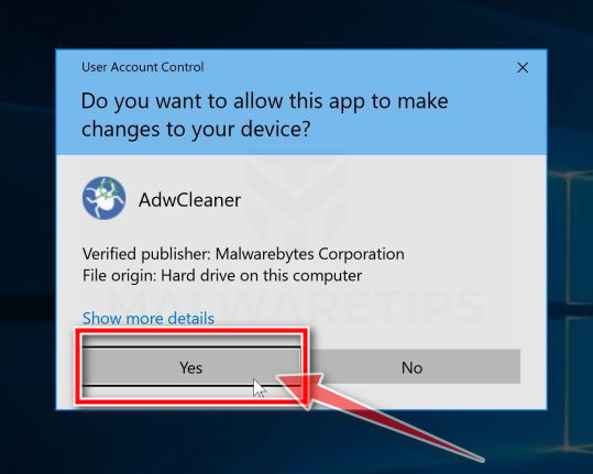 AdwCleaner y Windows User Account Control Pop-up