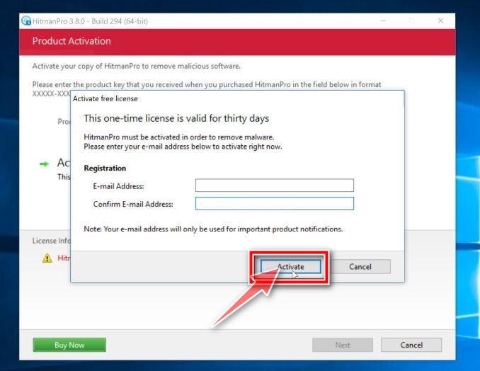 Por favor, introduzca su dirección de correo electrónico para completar la activación de HitmanPro - Ayuda en línea