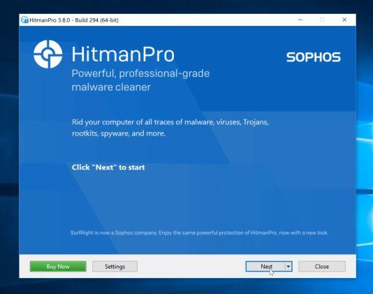 Proceso de instalación de HitmanPro