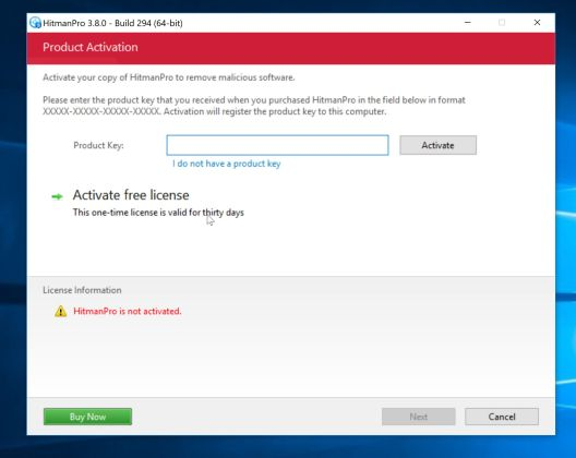 Activar HitmanPro para eliminar el malware
