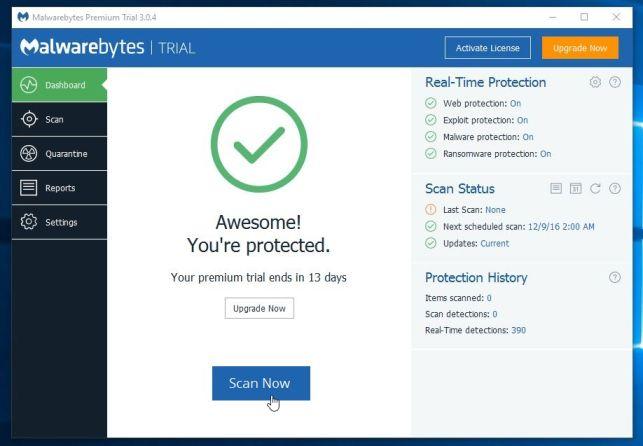 Ejecute un análisis del sistema con Malwarebytes