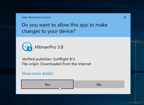 Ventana emergente de control de cuentas de usuario de HitmanPro