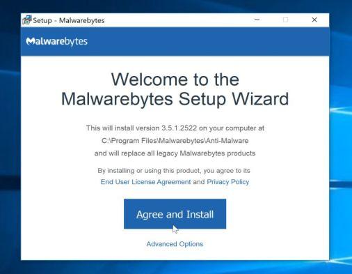 Instalación del instalador de Malwarebytes