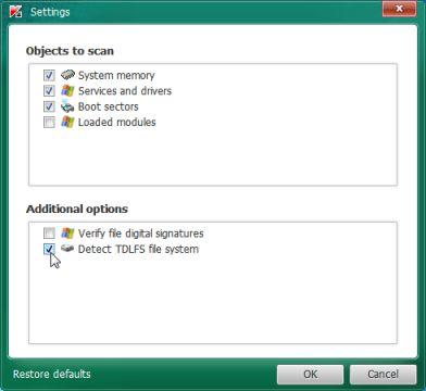Kaspersky TDSSKiller detecta el sistema de archivos TDLFS