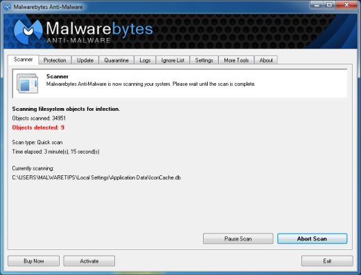 [Image: Malwarebytes Anti-Malware scanning for Win32.downloader.gen]