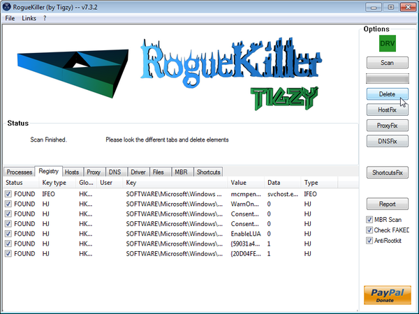 [Image: RogueKiller removing Win32.downloader.gen]