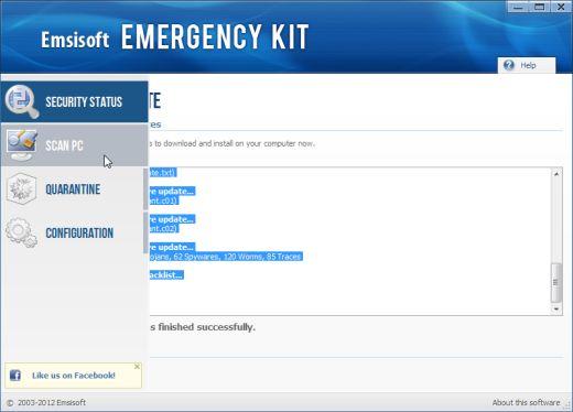 Hoja de exploración del kit de emergencia de Emsisoft