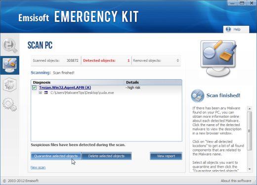 Eliminación del malware Emsisoft Emergency Kit