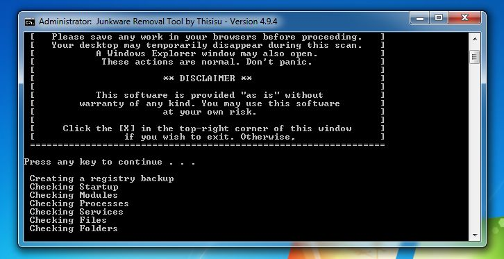 [Image: Junkware Removal Tool scanning for StormWatch virus]