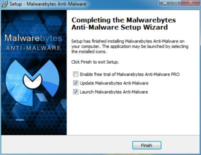 [Image: Malwarebytes Anti-Malware final installation screen]