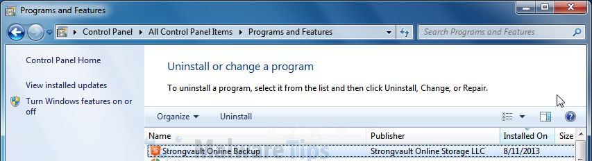 [Image: Uninstall StrongVault programs from Windows]