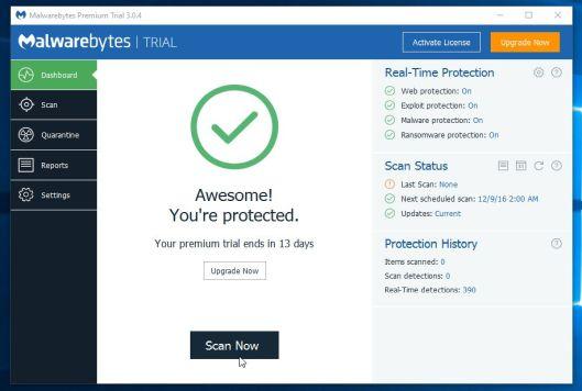 Inicie un análisis con Malwarebytes