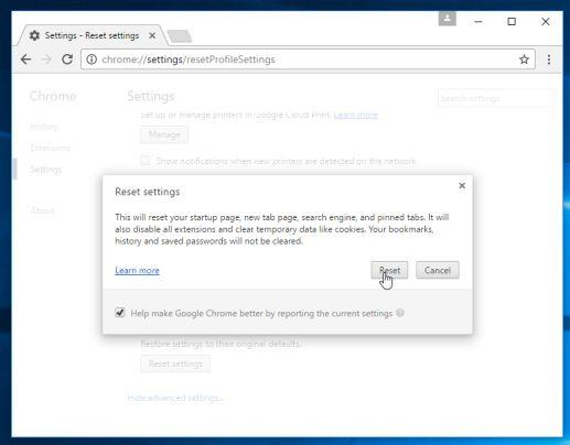 Restablecer la configuración de Google Chrome