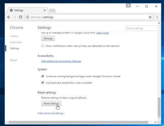 Botón de reinicio de Google Chrome