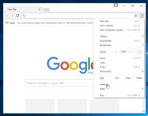Botón de configuración de Google Chrome