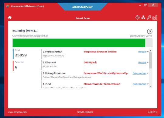 Zemana AntiMalware escanea en busca de virus