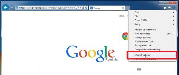 Haga clic en el icono del engranaje y seleccione Opciones de Internet - Ayuda en línea
