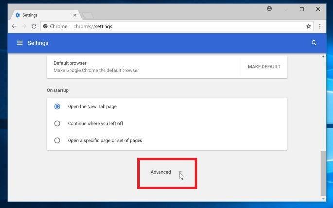 Haz clic en el botón Avanzado - Ayuda de Google Chrome