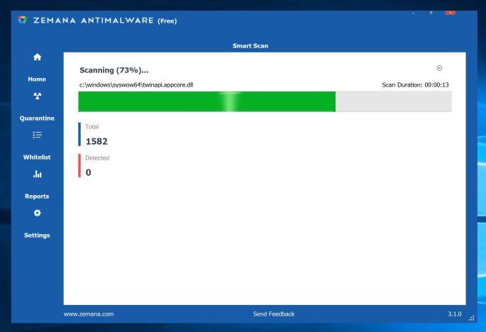 Imagen: Zemana AntiMalware escanea en busca de malware