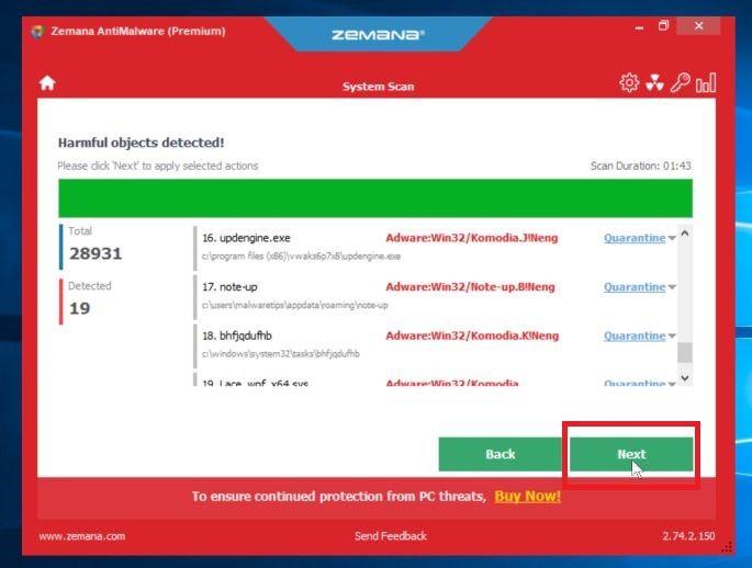 Haga clic en Siguiente para eliminar el malware encontrado por Zemana AntiMalware - Ayuda en línea