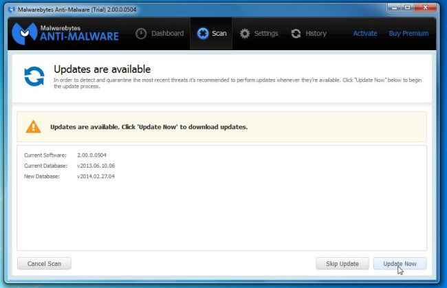 [Image: Click on Update Now to update Malwarebytes Anti-Malware]