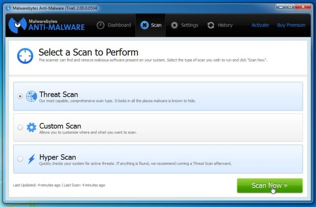 [Image: Malwarebytes Anti-Malware Threat Scan]