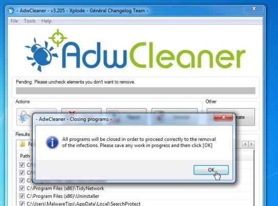 AdwCleaner que elimina el virus Taplika