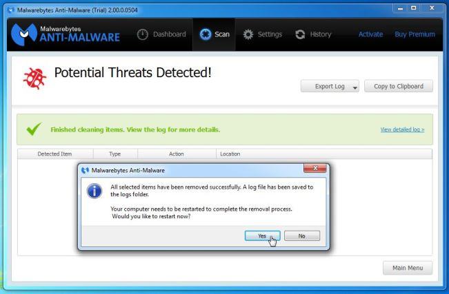 [Image: Malwarebytes Anti-Malware while removing nym1.ib.adnxs.com popup virus]