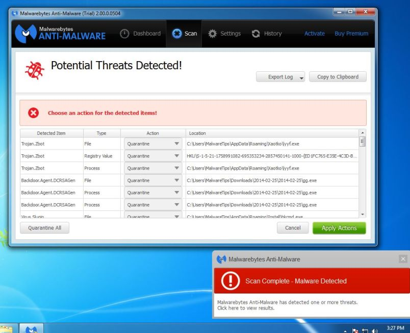 [Image: Remove the malware that Malwarebytes Anti-Malware has found]