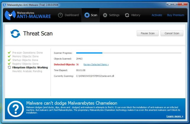 [Image: Malwarebytes Anti-Malware while performing a scan]